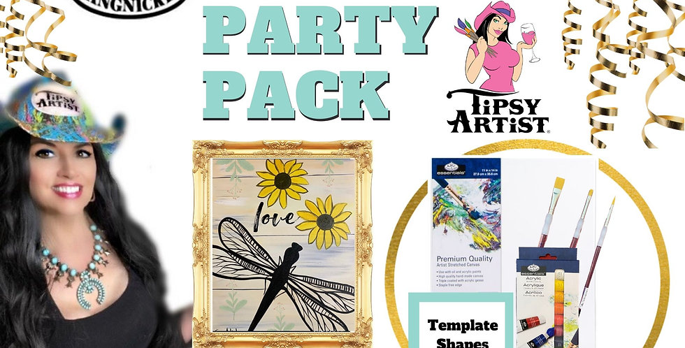 Sunflower Dragonfly ~ Painting Party Pack