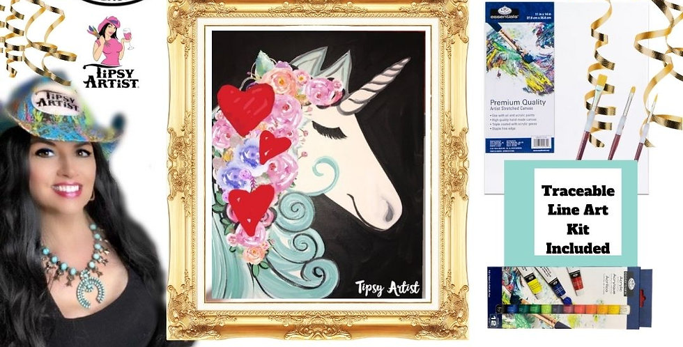 Love Unicorn with Hearts ~ Painting Kit
