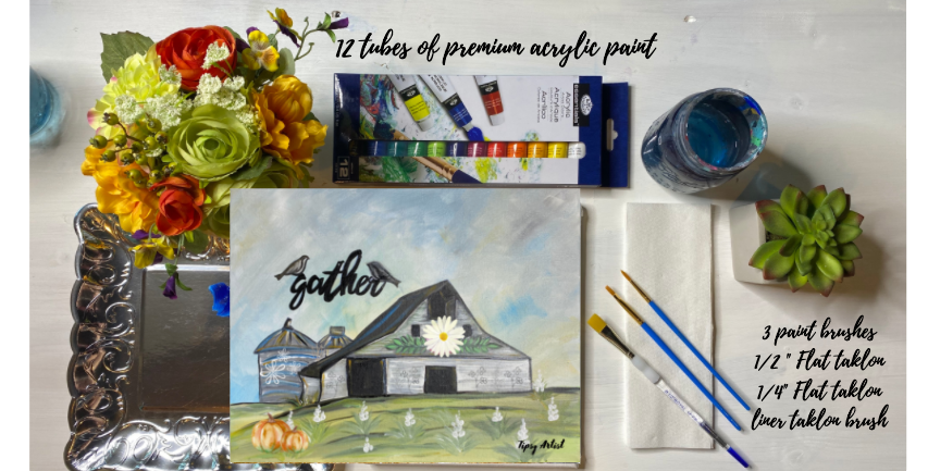 Gather at the Barn Painting Kit ~ Painting Party Gift Pack