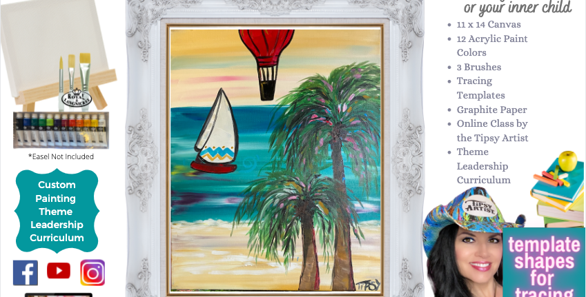Hot Air Balloon at the Beach ~ Painting Party Pack