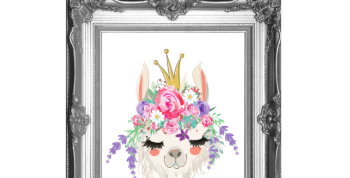 Princess Boho Llama Traceable Digital Pack