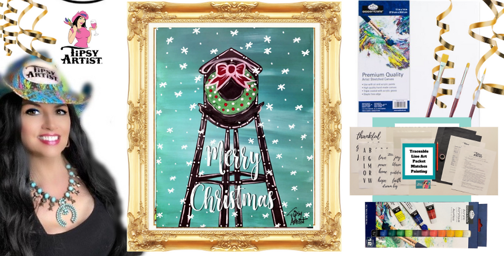 Christmas Water Tower Wreath Painting Kit ~ Painting Party Gift