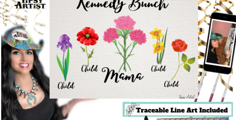 Personalized Birth Flowers for Mom  ~ Painting Kit