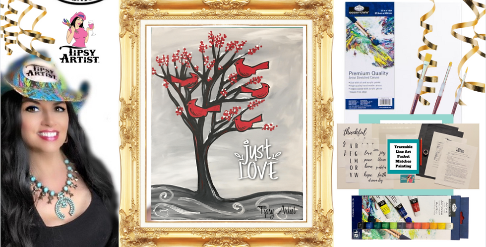 Just Love Cardinals in a Tree Painting Kit ~ Painting Party Gift