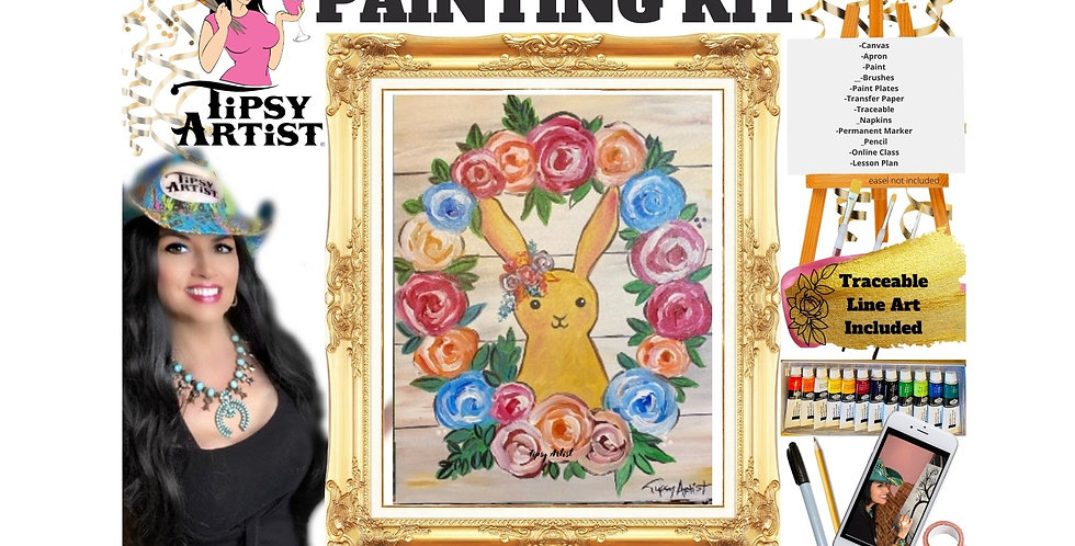 Easter Bunny Rose Wreath ~ Painting Kit