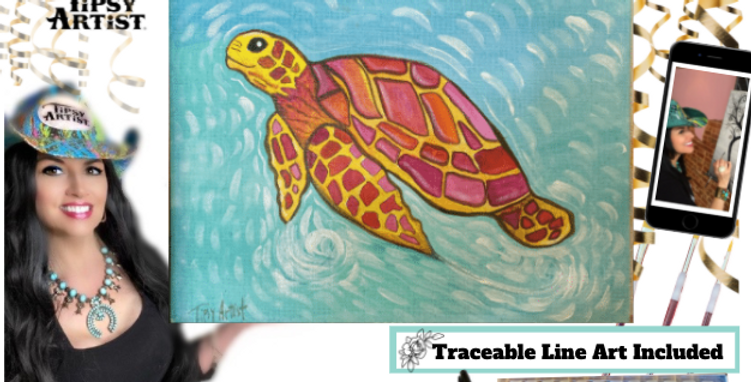 Smiling Colorful Sea Turtle ~ Painting Kit
