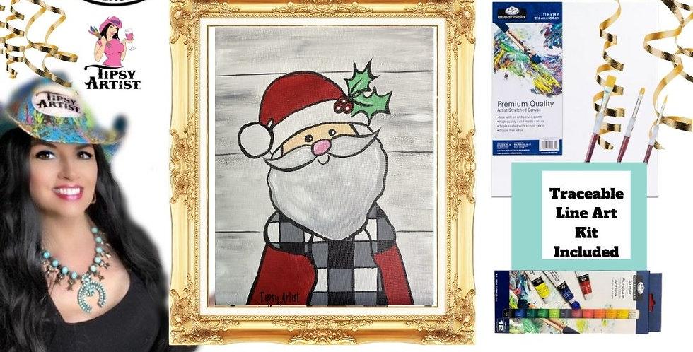 Smiling Buffalo Check Santa ~ Painting Party Gift