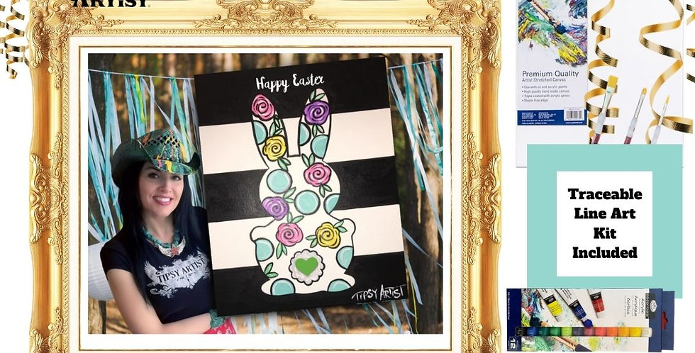 Patterned Easter Bunny on Black Stripes ~ Painting Kit