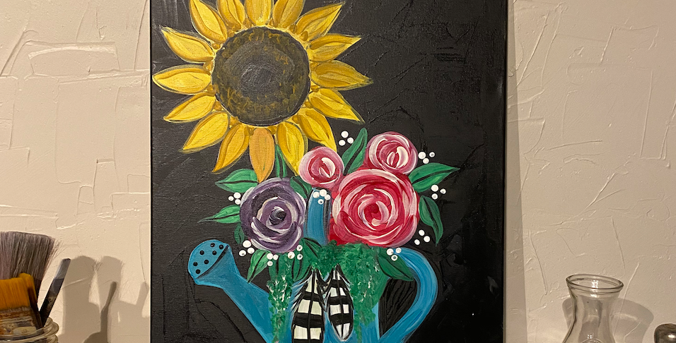 Sunflower and Roses in a Watering Pitcher