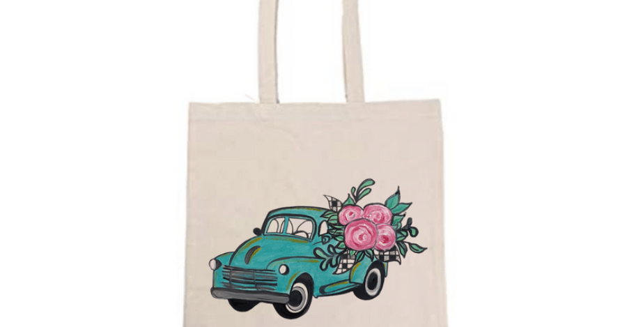 Vintage Pickup with Roses Tote Bag ~ Painting Kit
