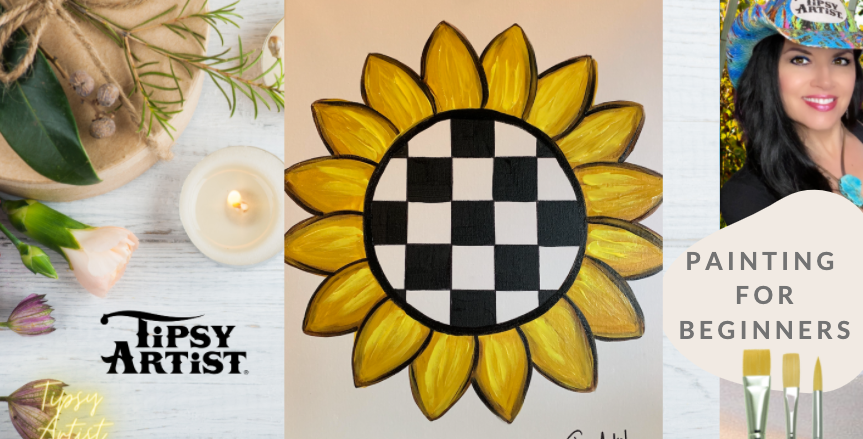 Courtly Check Sunflower Painting Kit ~ Painting Party Gift Pack