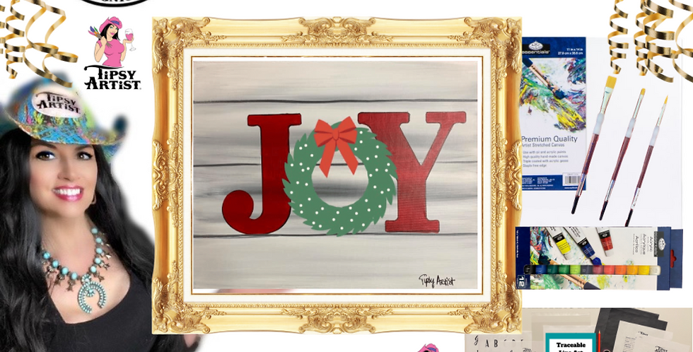 Joy Wreath on Shiplap  Painting Kit ~ Painting Party Gift
