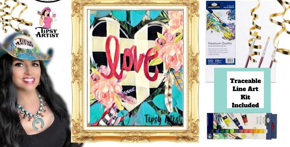 Buffalo Check Heart~ Painting Kit