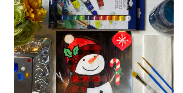 Buffalo Check Snowman Painting Kit ~ Painting Party Gift Pack