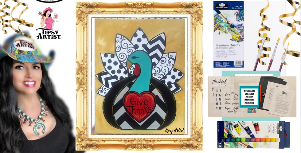 Give Thanks Turkey Painting Kit ~ Painting Party Gift