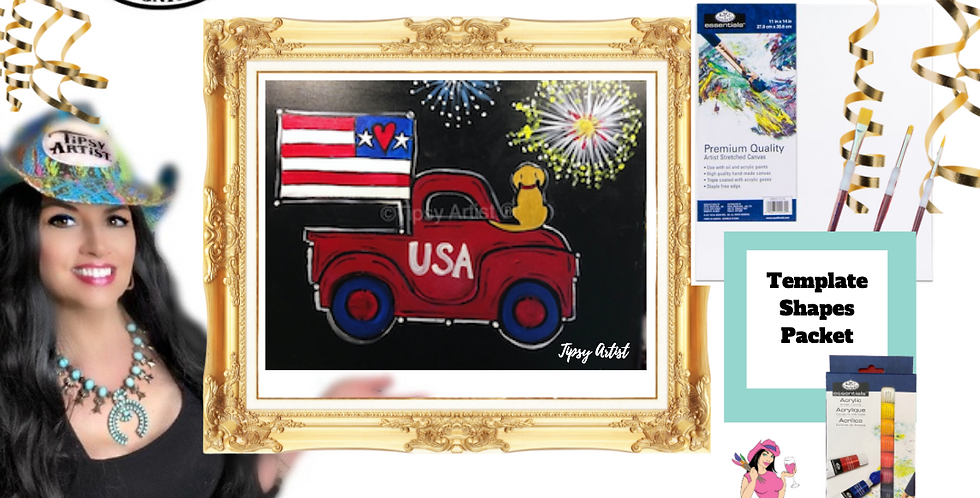 Fireworks Flag USA Truck with Puppy ~ Painting Party Pack