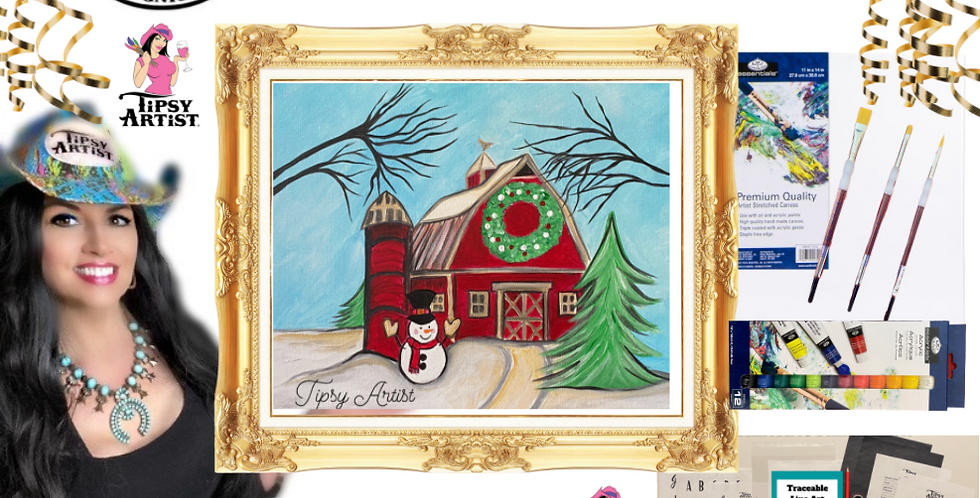 Christmas Snowman & Silo Barn  Painting Kit ~ Painting Party Gift Pack