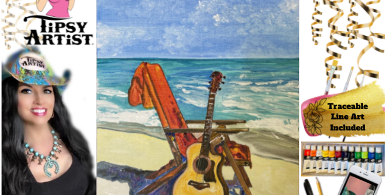 Guitar on the Beach ~ Painting Kit