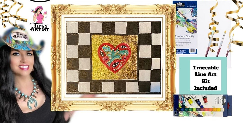 Floral Heart Courtly Check Gold Leaf Painting Kit