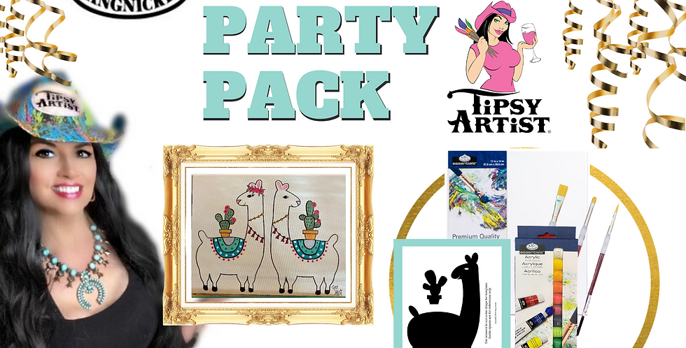 Llama with Cactus Painting Party Pack