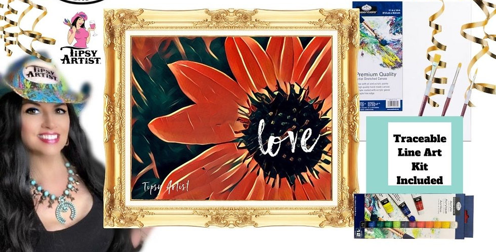 Love Red Flower ~ Painting Kit
