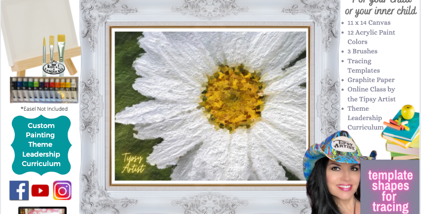 White Daisy ~ Painting Party Pack
