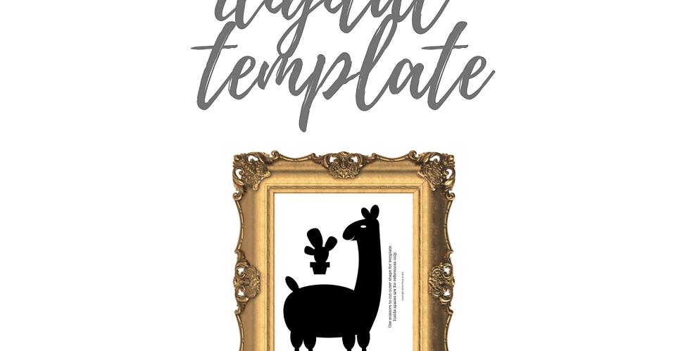 Llama and Cactus Digital Template Pack