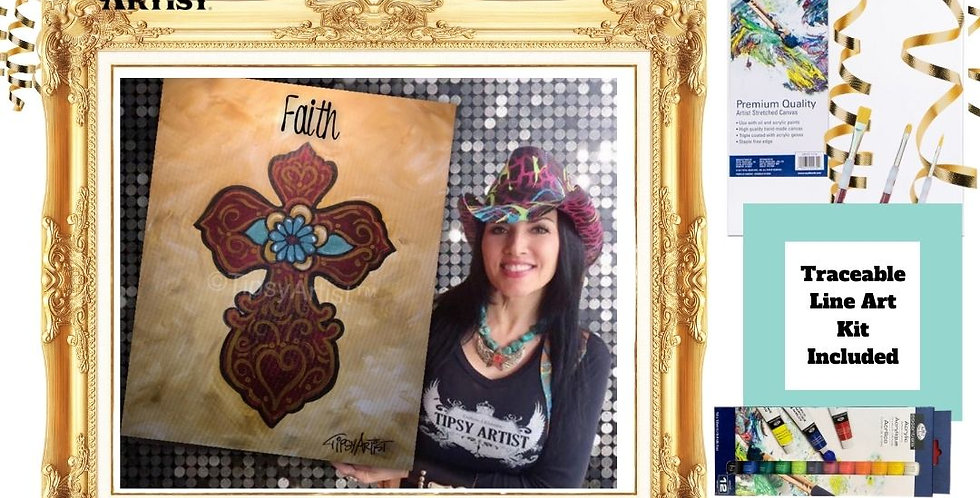 Faith Flower Cross ~ Painting Kit