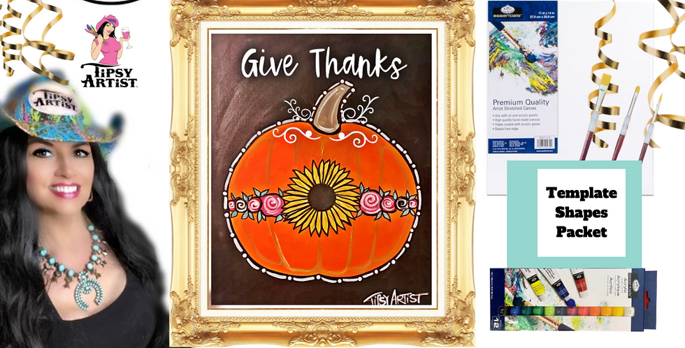 Give Thanks Sunflower Pumpkin ~ Painting Party Pack