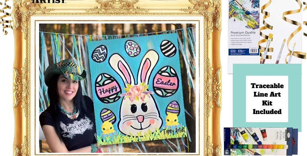 Boho Easter Bunny, Chicks & Eggs ~ Painting Kit