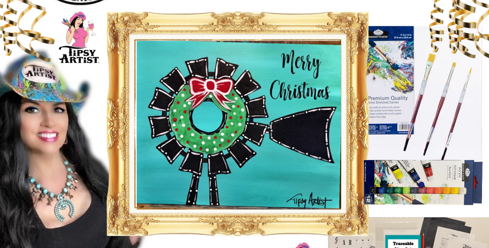 Christmas Windmill Wreath Painting Kit ~ Painting Party Gift