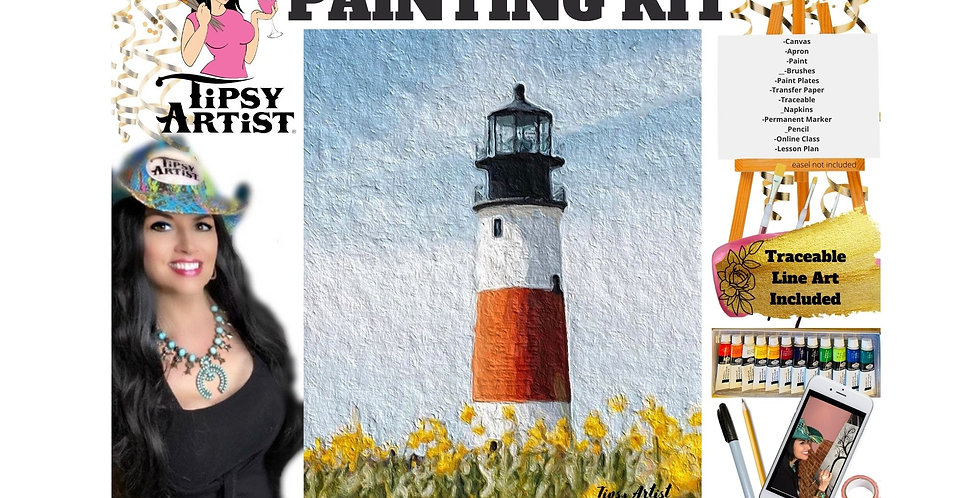 Light House in a Field of Flowers ~ Painting Kit