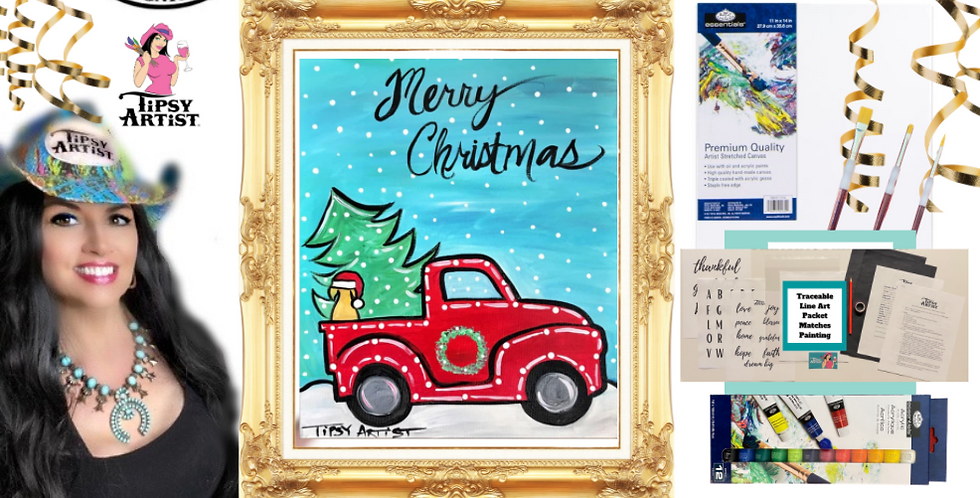 Christmas Truck with Puppy Dog Painting Kit ~ Painting Party Gift