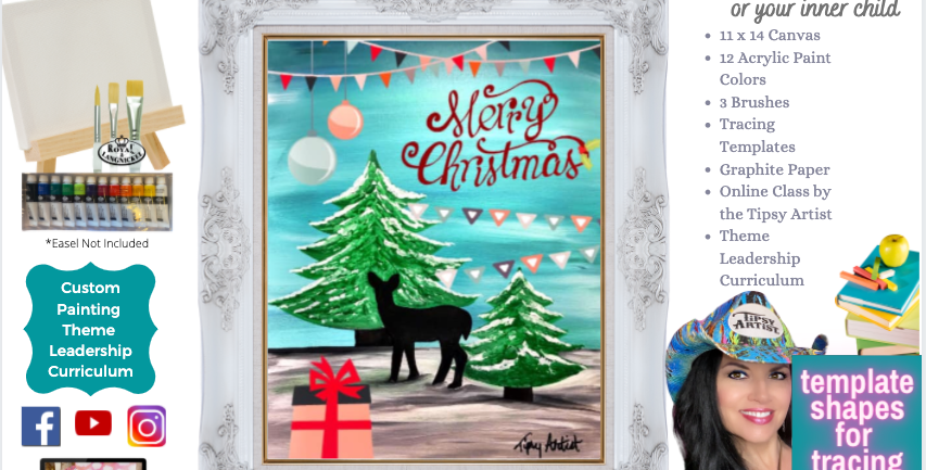 Merry Christmas Deer Christmas ~ Painting Party Pack