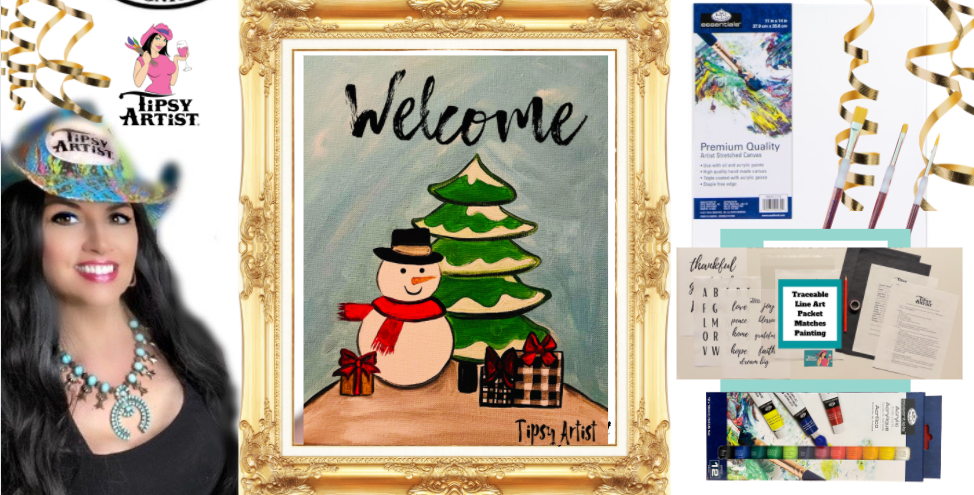 Welcome Snowman  Painting Kit ~ Painting Party Gift Pack