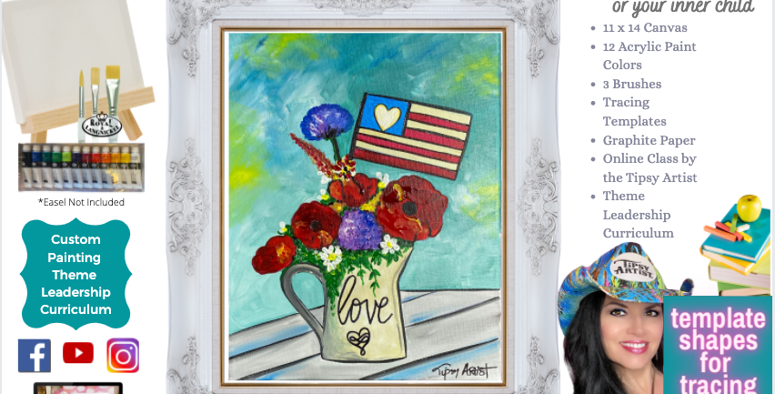 Love Poppies in a Patriotic Pitcher ~ Painting Party Pack