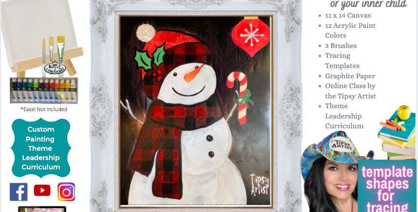 Snowman Plaid Christmas ~ Painting Party Pack