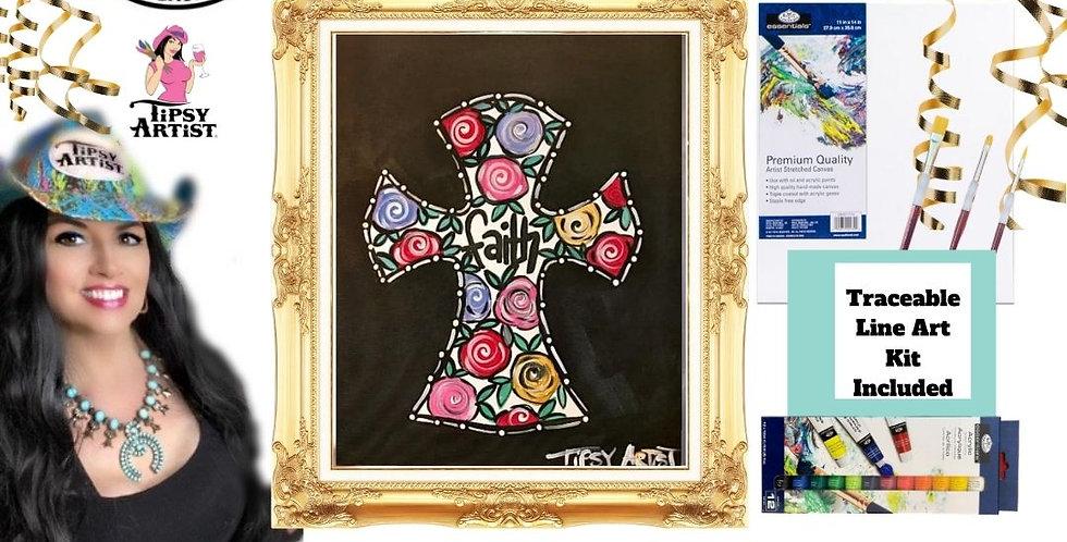 Bright Roses Faith Cross ~ Painting Kit