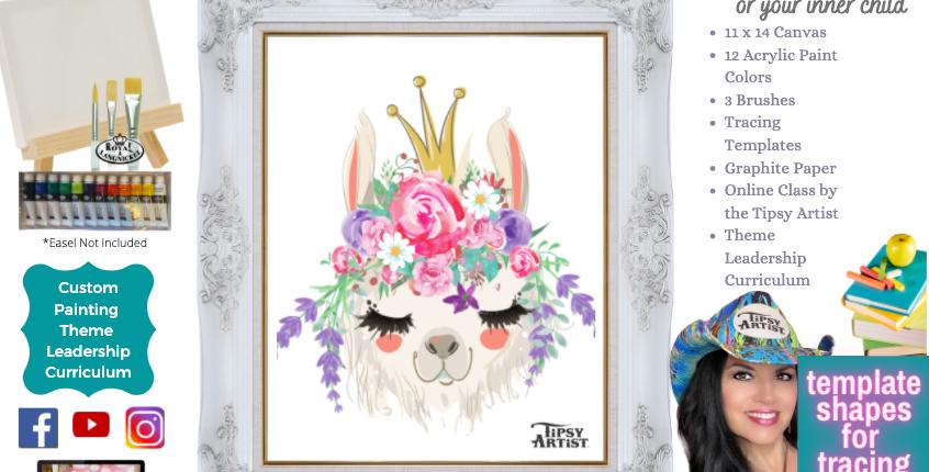 Llama Boho Princess ~ Painting Party Pack