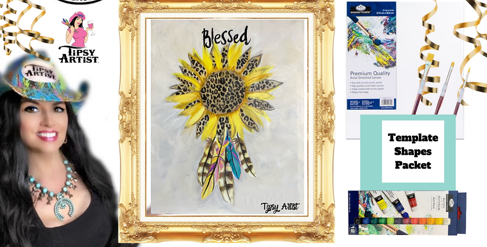 Blessed Cheetah Sunflower ~ Painting Party Pack
