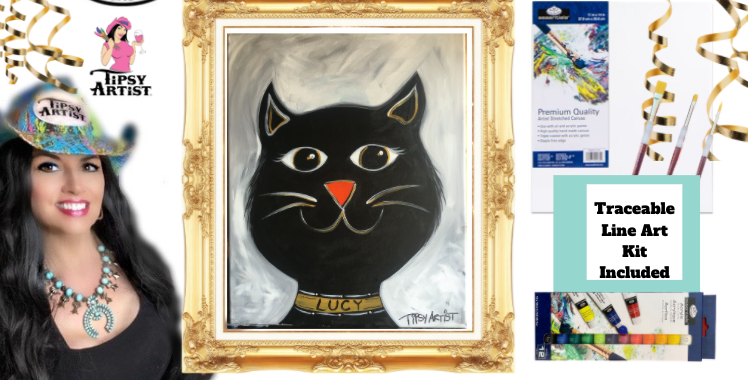 Smiling Cat ~ Painting Party Kit