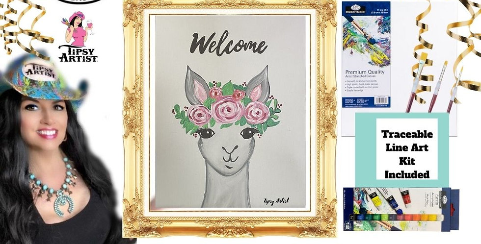 Alpaca with Roses ~ Painting Kit