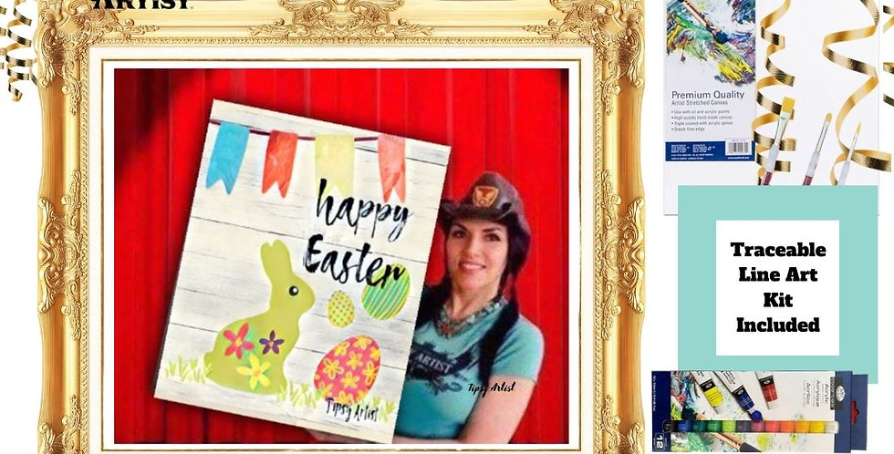 Happy Easter Bunny with Flags & Eggs ~ Painting Kit