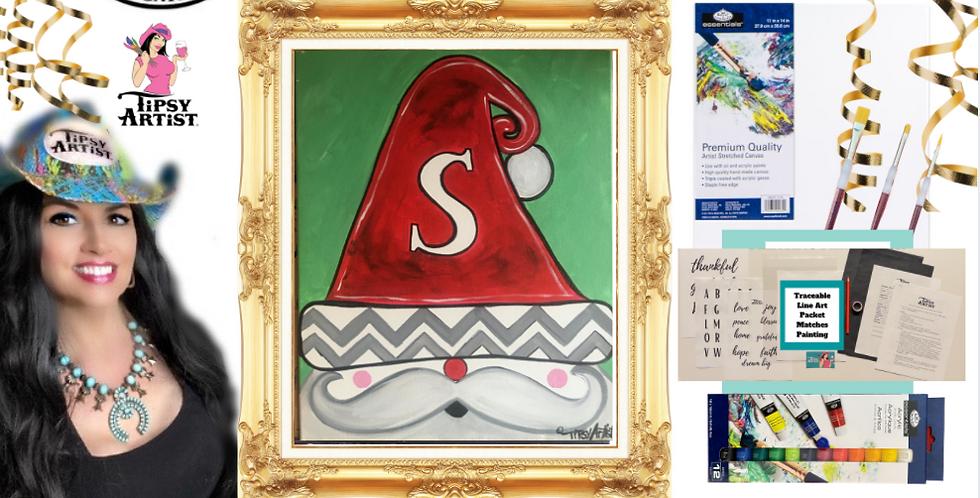 Monogram Sleepy Santa Painting Kit ~ Painting Party Gift