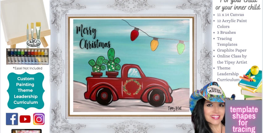 Pickup with Cactus Christmas ~ Painting Party Pack