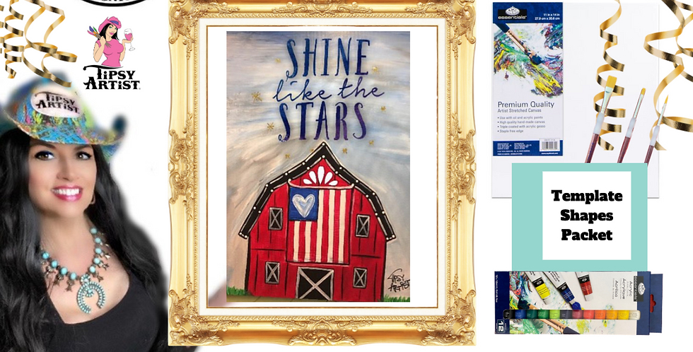 USA Flag Barn ~ Painting Party Pack