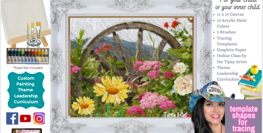 Wagon Wheel in the Garden~ Painting Party Pack