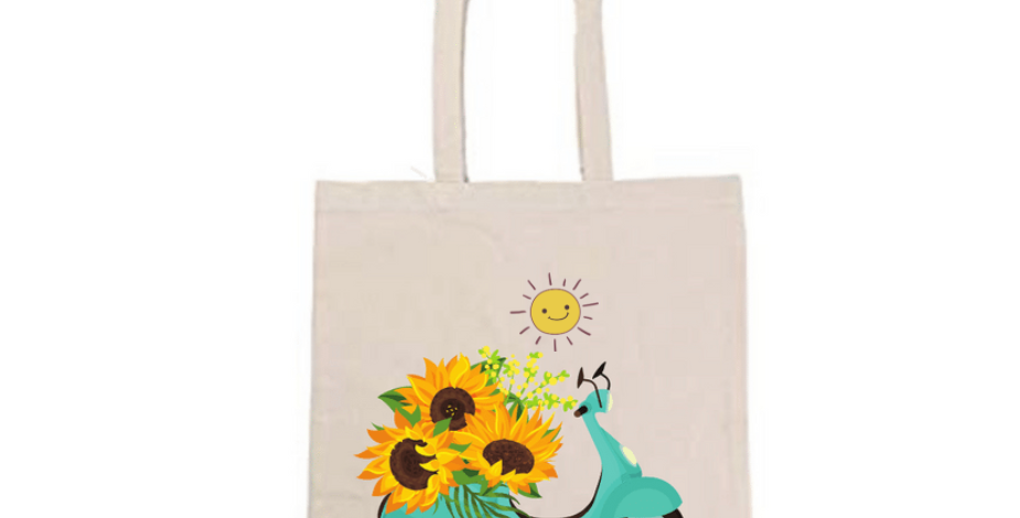 Sunny Sunflower Scooter Bug Tote Bag ~ Painting Kit