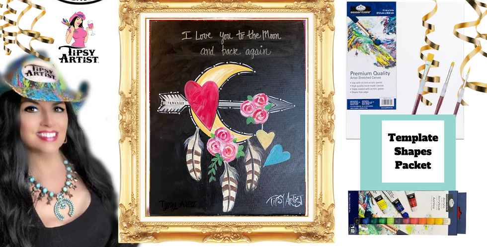 I Love You to the Moon and Back Again Dreamcatcher ~ Painting Party Pack