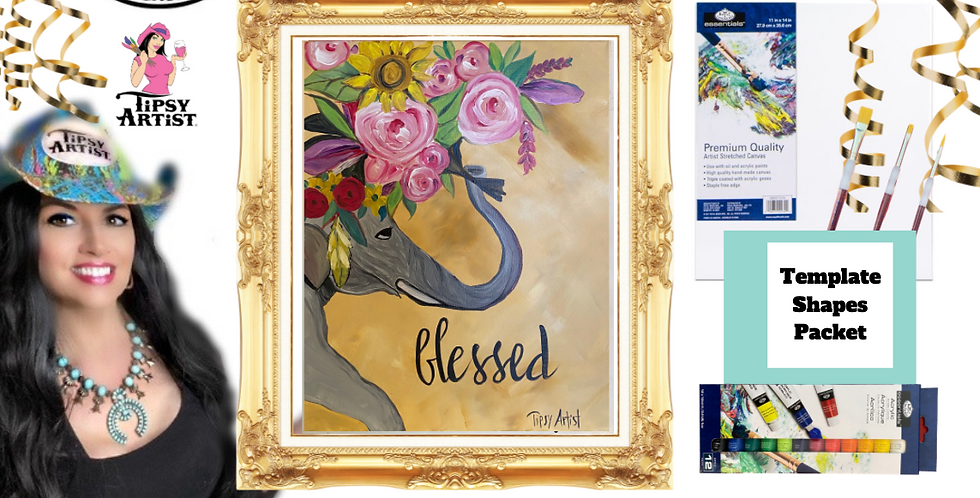 Blessed Floral Elephant~ Painting Party Pack